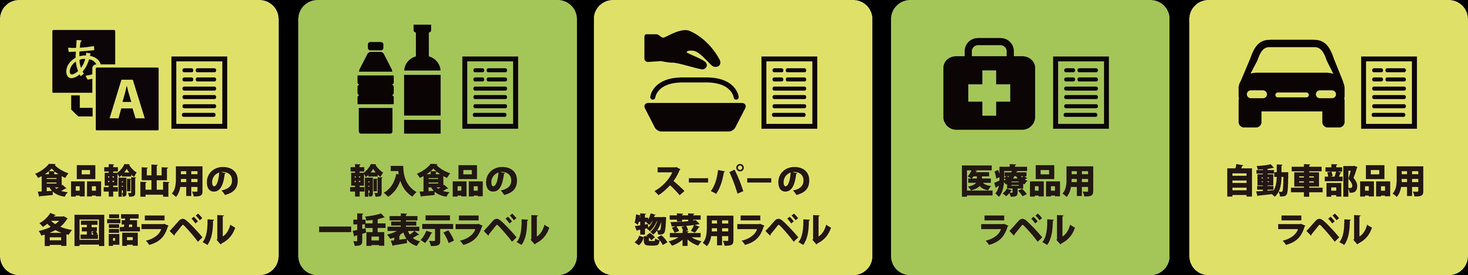 食品輸出用の各国語ラベル/輸入食品の一括表示ラベル/スーパーの惣菜用ラベル/衣料品用ラベル/自動車部品用ラベル